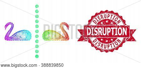 Spectrum Colored Network Separate Swans, And Disruption Scratched Ribbon Seal Print. Red Stamp Seal