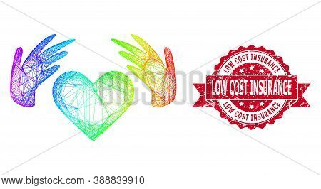 Spectrum Colored Wire Frame Handmade Love, And Low Cost Insurance Scratched Ribbon Stamp Seal. Red S