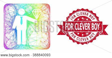Rainbow Colorful Wire Frame Groom Diamond, And For Clever Boy Rubber Ribbon Seal. Red Seal Contains