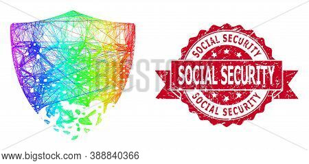 Rainbow Colorful Net Damaged Shield, And Social Security Corroded Ribbon Seal Imitation. Red Seal In