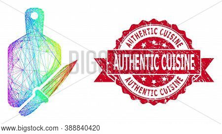 Bright Colorful Wire Frame Cutting Board And Knife, And Authentic Cuisine Textured Ribbon Seal Imita