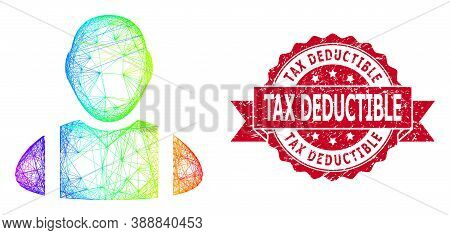 Spectrum Colored Net Worker, And Tax Deductible Textured Ribbon Stamp Seal. Red Stamp Contains Tax D