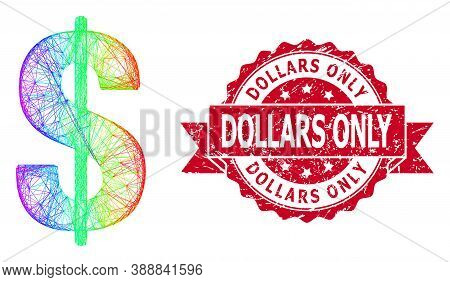 Spectrum Vibrant Network Dollar Symbol, And Dollars Only Dirty Ribbon Stamp Seal. Red Stamp Seal Con