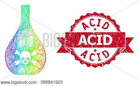 Bright Colored Net Poison Jug, And Acid Scratched Ribbon Stamp Seal. Red Seal Contains Acid Text Ins