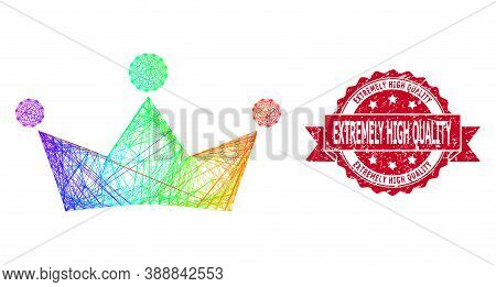 Spectrum Colored Wire Frame Crown, And Extremely High Quality Scratched Ribbon Stamp Seal. Red Stamp