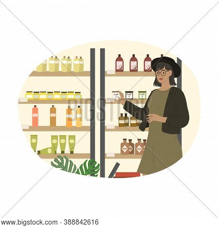 Girl In Hat Choosing Fragrance For Candle In Cosmetics Store
