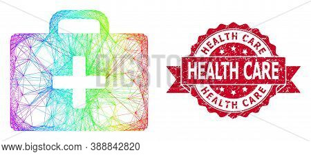 Rainbow Colored Net Medical Kit Case, And Health Care Dirty Ribbon Seal. Red Seal Contains Health Ca