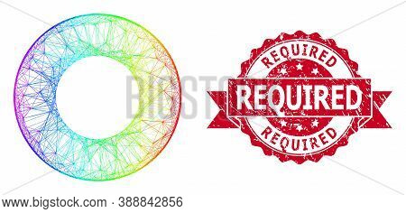 Bright Colorful Wire Frame Donut, And Required Grunge Ribbon Stamp. Red Stamp Seal Contains Required