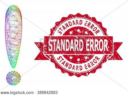 Rainbow Vibrant Net Exclamation Sign, And Standard Error Textured Ribbon Stamp Seal. Red Stamp Seal