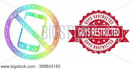 Rainbow Colorful Wire Frame Forbidden Smartphone, And Guys Restricted Corroded Ribbon Stamp Seal. Re
