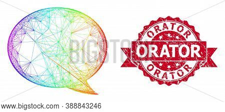 Bright Colorful Net Message Cloud, And Orator Dirty Ribbon Stamp Seal. Red Stamp Includes Orator Tit