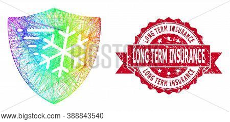 Rainbow Colored Network Frost Protection, And Long Term Insurance Unclean Ribbon Stamp Seal. Red Sta