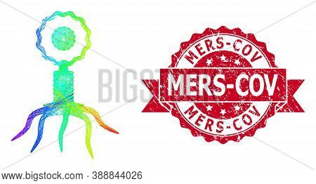 Spectrum Colorful Net Virus Cell, And Mers-cov Unclean Ribbon Seal Imitation. Red Stamp Seal Contain