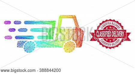 Spectrum Colorful Wire Frame Delivery Car Chassi, And Classified Delivery Scratched Ribbon Seal Prin