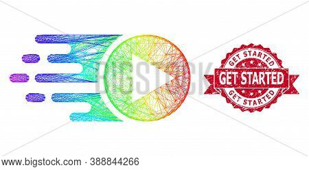 Spectrum Colorful Wire Frame Start Play, And Get Started Textured Ribbon Seal. Red Stamp Seal Has Ge