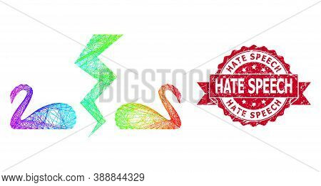 Spectrum Colorful Wire Frame Divorce Swans, And Hate Speech Scratched Ribbon Stamp. Red Stamp Contai