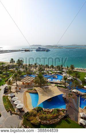 The Beach With A View On Jumeirah Palm Man-made Island, Dubai, Uae