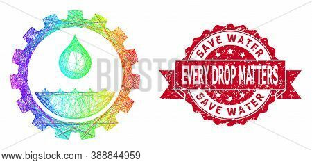 Rainbow Colored Network Water Service, And Save Water Every Drop Matters Corroded Ribbon Stamp Seal.