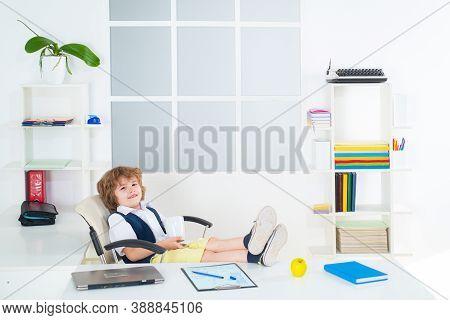 Bossy Little Kid Boy Businessman Entrepreneur Inside In Office. Funny Kids