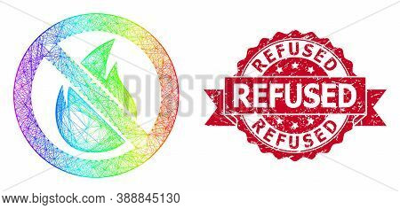 Rainbow Vibrant Wire Frame Forbidden Fire, And Refused Scratched Ribbon Seal Print. Red Stamp Contai