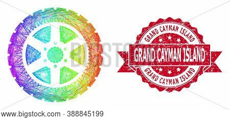 Rainbow Vibrant Net Tire Wheel, And Grand Cayman Island Textured Ribbon Seal. Red Seal Includes Gran
