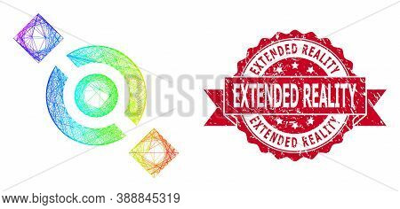 Spectrum Colored Network Joint Node, And Extended Reality Corroded Ribbon Stamp Seal. Red Stamp Cont