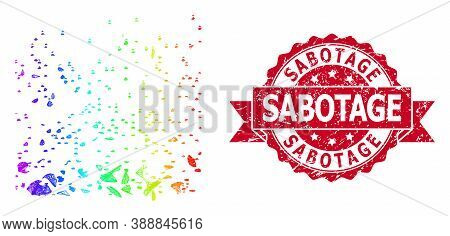 Bright Vibrant Net Powder Participles, And Sabotage Dirty Ribbon Stamp Seal. Red Stamp Contains Sabo