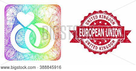 Spectrum Vibrant Network Wedding Rings, And United Kingdom European Union Unclean Ribbon Seal Print.
