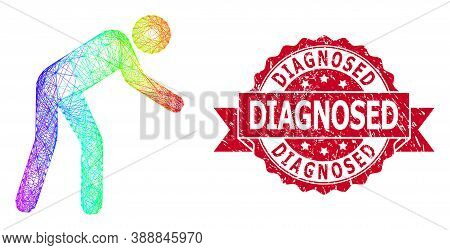 Bright Vibrant Net Tired Person, And Diagnosed Textured Ribbon Stamp Seal. Red Stamp Seal Contains D