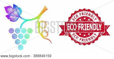 Rainbow Colorful Network Grape Plant, And Eco Friendly Rubber Ribbon Stamp Seal. Red Stamp Has Eco F