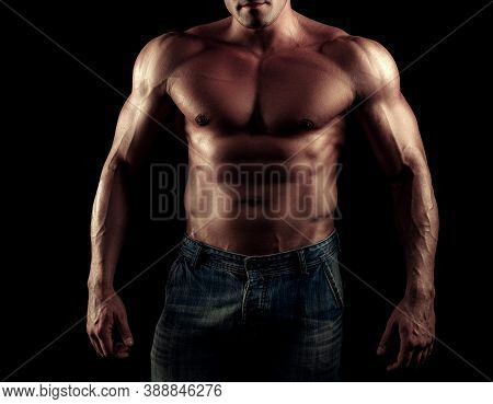 Naked Man. Muscular Guy With Sexy Torso. Handsome Masculine Man