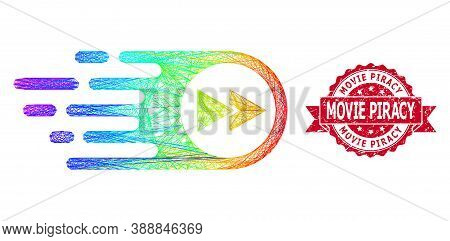 Rainbow Colorful Network Play Forward, And Movie Piracy Rubber Ribbon Seal Print. Red Stamp Seal Inc