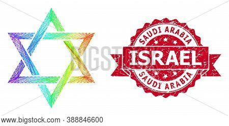 Rainbow Colored Wire Frame David Star, And Saudi Arabia Israel Dirty Ribbon Watermark. Red Stamp Con