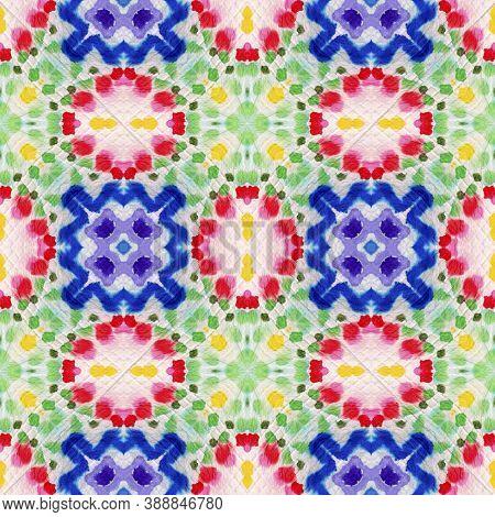Aztec Rugs. Repeat Tie Dye Rapport. Ikat African Design. Abstract Batik Print. Dots, Red, Green, Blu