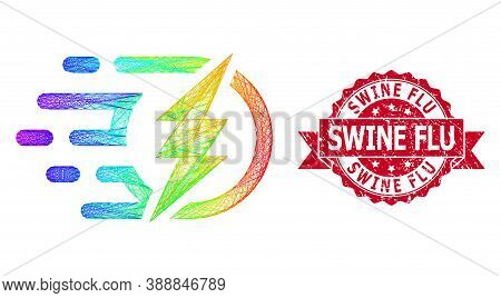 Rainbow Colored Wire Frame Electrical Power, And Swine Flu Dirty Ribbon Seal. Red Stamp Seal Has Swi