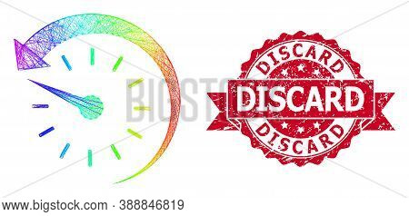 Spectrum Vibrant Net Time Backward, And Discard Textured Ribbon Stamp Seal. Red Stamp Seal Includes