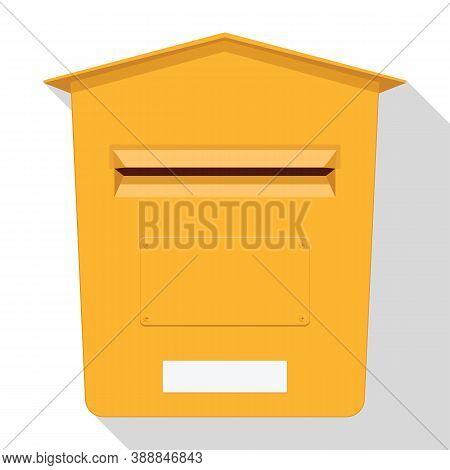 Yellow Classic Post Box. Mail Box Icon. Letterbox. Vector Illustration.