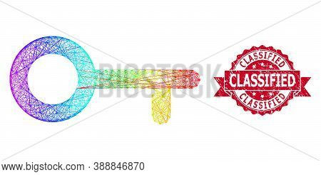 Rainbow Colored Wire Frame Key, And Classified Corroded Ribbon Stamp Seal. Red Seal Contains Classif