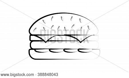 Black And White Burger On A White Background, Vector Illustration. Burger With A Black Outline, As I