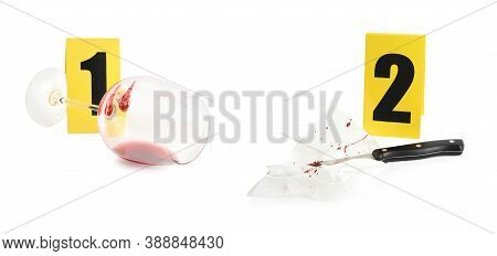 Crime Scene Investigation. Evidence Identification Markers And Clues On White Background