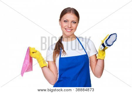smiley charlady with rug and brush over white background