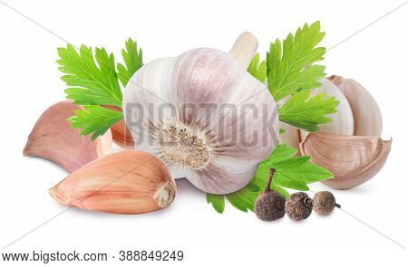 Fresh Garlic With Parsley And Allspice On White Background