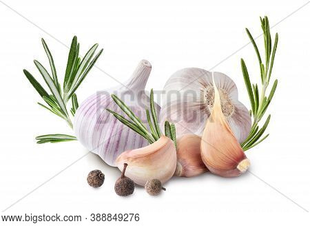 Fresh Garlic With Rosemary And Allspice On White Background