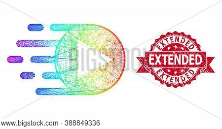 Rainbow Colored Wire Frame Play Function, And Extended Dirty Ribbon Stamp. Red Stamp Seal Has Extend