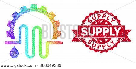 Rainbow Vibrant Wire Frame Water Supply Service, And Supply Unclean Ribbon Stamp. Red Stamp Seal Has