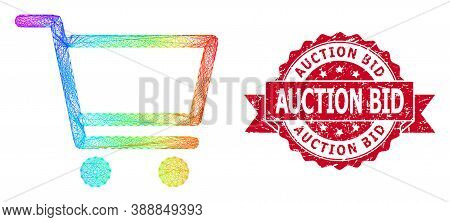 Spectrum Vibrant Wire Frame Shopping Cart, And Auction Bid Textured Ribbon Seal Imitation. Red Stamp