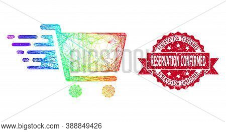 Rainbow Colorful Network Shopping Cart, And Reservation Confirmed Rubber Ribbon Stamp. Red Stamp Sea