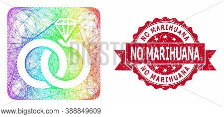 Spectrum Vibrant Wire Frame Jewelry Wedding Rings, And No Marihuana Grunge Ribbon Stamp Seal. Red Se