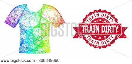 Spectrum Colored Wire Frame Dirty T-shirt, And Train Dirty Scratched Ribbon Watermark. Red Seal Incl