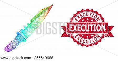 Spectrum Colored Wire Frame Knife, And Execution Grunge Ribbon Stamp. Red Stamp Seal Has Execution T